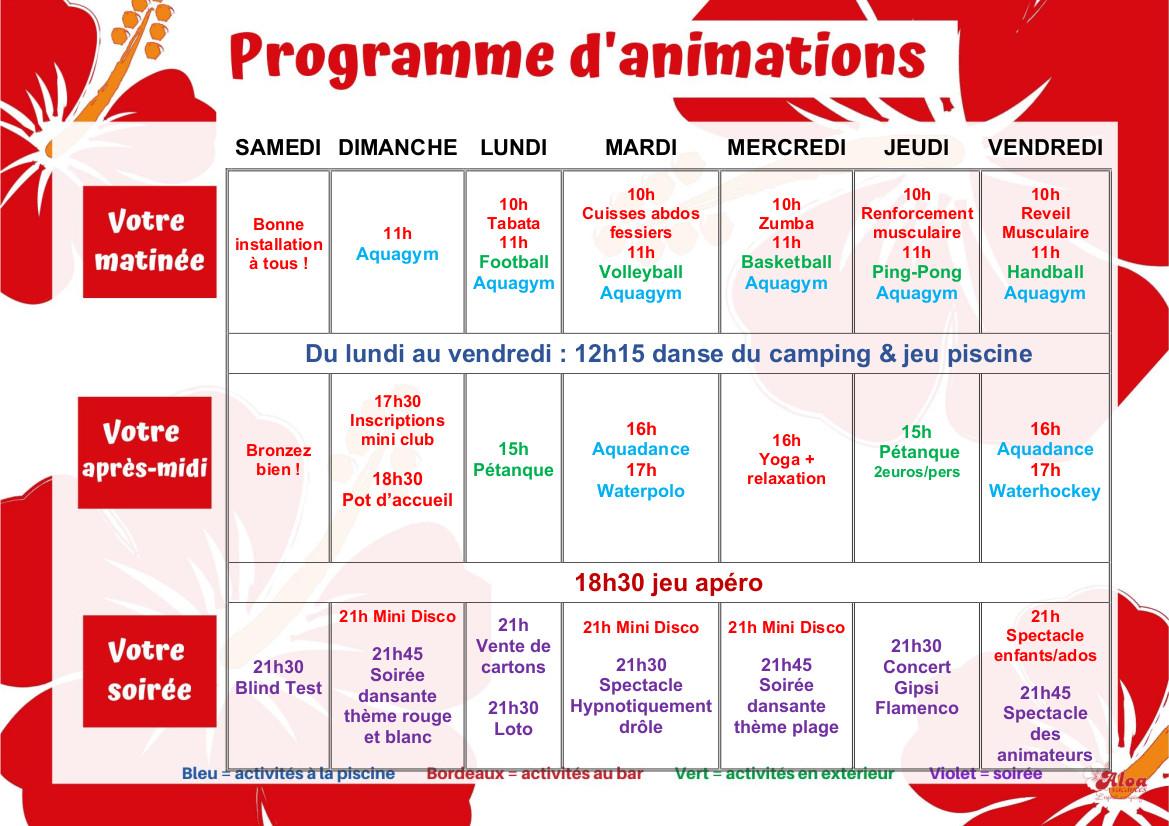 CLOS - programme du 24 au 31 juillet adultes